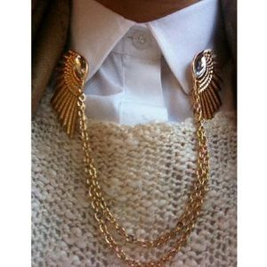 Vintage angel wing collar pins
